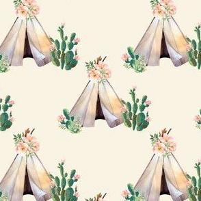 "4"" Cactus Floral Teepee - Ivory"
