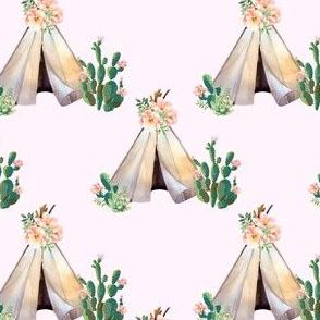 "4"" Cactus Floral Teepee - Pink"