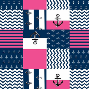 Anchor Quilt 14 wholecloth -hottie pink white blue