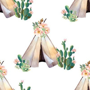 "8"" Cactus Floral Teepee - White"