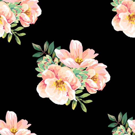 """8"""" Aztec Pink Roses - Black fabric by shopcabin on Spoonflower - custom fabric"""