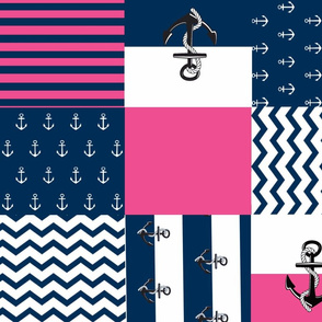 Anchor Quilt 21 wholecloth -hottie pink white blue