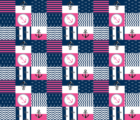 Anchor Center Quilt 14 wholecloth -hottie pink white blue fabric by drapestudio on Spoonflower - custom fabric