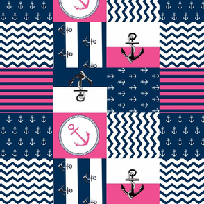 Anchor Center Quilt 14 wholecloth -hottie pink white blue