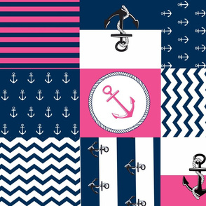 Anchor Center Quilt 21 wholecloth -hottie pink white blue