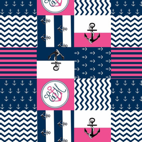Anchor Center Quilt 14 wholecloth -hottie pink white blue PERSONALIZED -EM