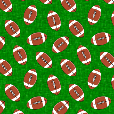 (small scale) college football on turf green fabric by littlearrowdesign on Spoonflower - custom fabric