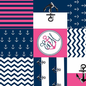 Anchor Center Quilt 21 wholecloth -hottie pink white blue PERSONALIZED -EM