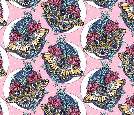 Moths in the Moonlight fabric by pond_ripple on Spoonflower - custom fabric