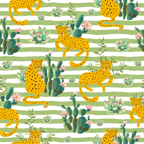 """8"""" Jungle Cactus Leopard - Green Stripes fabric by shopcabin on Spoonflower - custom fabric"""