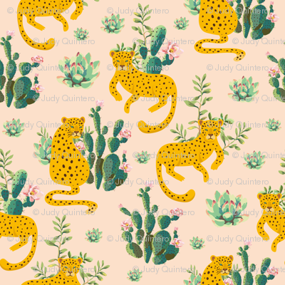 "8"" Jungle Cactus Leopard - Peach"