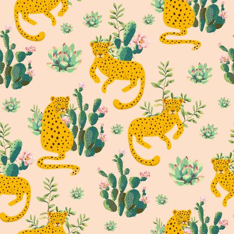 "8"" Jungle Cactus Leopard - Peach fabric by shopcabin on Spoonflower - custom fabric"