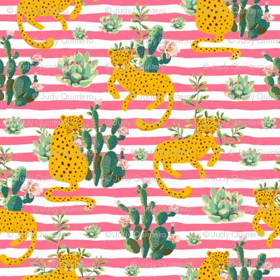 "4"" Jungle Cactus Leopard - Summer Pink Stripes"