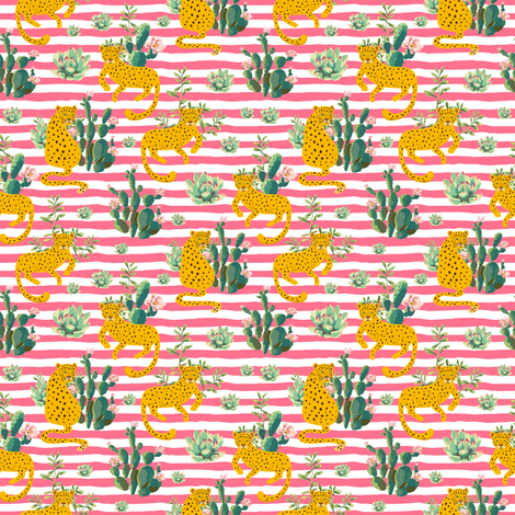 """4"""" Jungle Cactus Leopard - Summer Pink Stripes fabric by shopcabin on Spoonflower - custom fabric"""