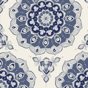 Doodled Floral Mandala in Grey Blue and Cream