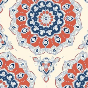 Doodled Floral Mandala in Red, Blue and Cream