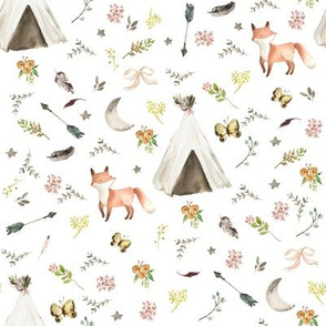 "8"" Baby Fox Boho - White"