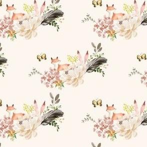 "4"" Baby Fox Boho Bouquet - Ivory"