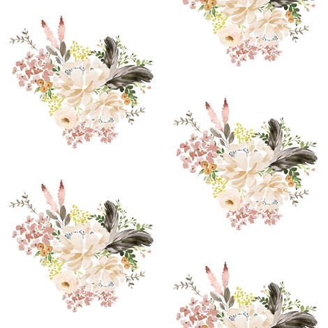 "4"" Ivory Boho Bouquet - White fabric by shopcabin on Spoonflower - custom fabric"