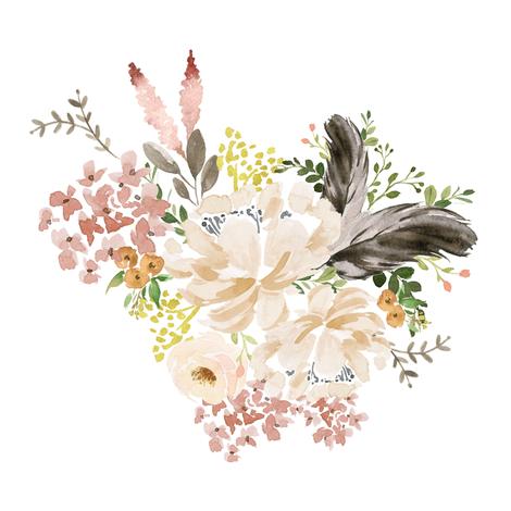 "8"" Ivory Boho Bouquet - White fabric by shopcabin on Spoonflower - custom fabric"