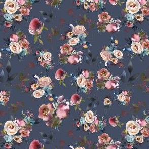 Blue Fall Floral - Burgundy and Navy with Pink Flowers
