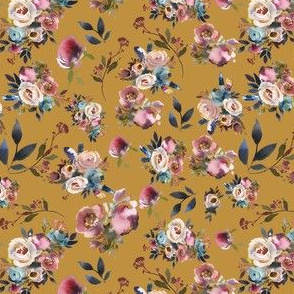 Mustard Burgundy and Navy Fall  Floral
