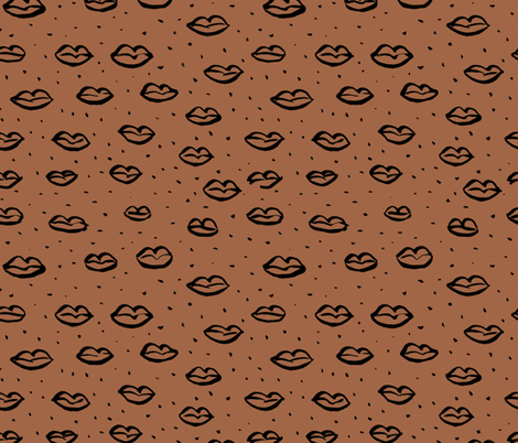 Love l'amour kiss poppy lips raw ink drawing wedding and valentine theme copper brown trend fabric by littlesmilemakers on Spoonflower - custom fabric