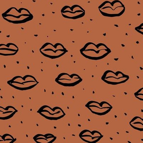 Love l'amour kiss poppy lips raw ink drawing wedding and valentine theme copper brown trend