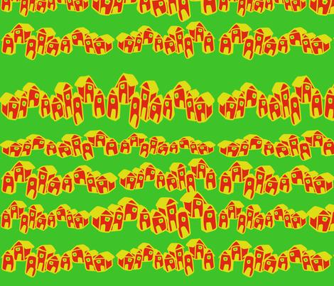 Affordable Housing in Green fabric by dulciart,llc on Spoonflower - custom fabric