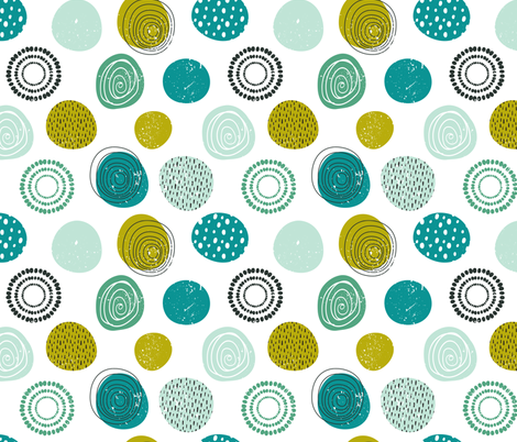 Abstract green, blue and black circles on white background fabric by nadia_to_art on Spoonflower - custom fabric