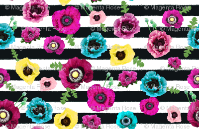 Watercolor floral stripe // horizontal stripe //  pink, teal and yellow