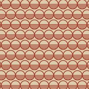 Atomic Century Circles - Martian Scarlet on Beige