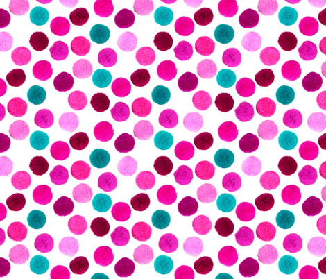 pompoms in pink and teal fabric by magentarosedesigns on Spoonflower - custom fabric