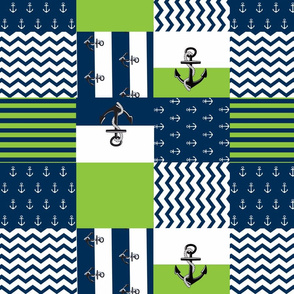 Anchor Quilt 14 wholecloth -apple green  white blue
