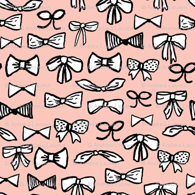 bows // fashion trendy inky hand-drawn beauty print for trendy girls in pale pink illustration pattern - SMALLER