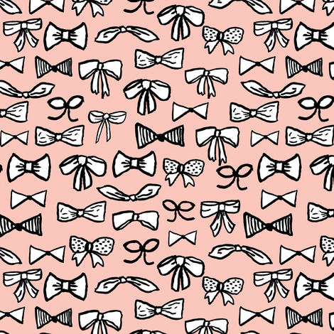 bows // fashion trendy inky hand-drawn beauty print for trendy girls in pale pink illustration pattern - SMALLER fabric by andrea_lauren on Spoonflower - custom fabric