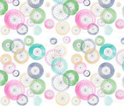 Watercolor Wheels fabric by stasiajahadi on Spoonflower - custom fabric