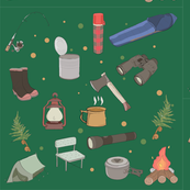 Hand Drawn New Zealand Camping Illustrations - Green Background