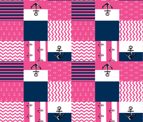 Anchor Quilt 21 wholecloth -navy blue  white hottie pink fabric by drapestudio on Spoonflower - custom fabric