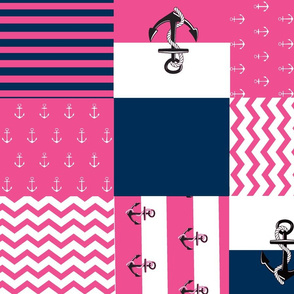 Anchor Quilt 21 wholecloth -navy blue  white hottie pink