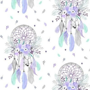 Girly Dream Catchers – Purple Lavender Mint Gray Feathers Baby Girl Nursery Blanket GingerLous MEDIUM SCALE B