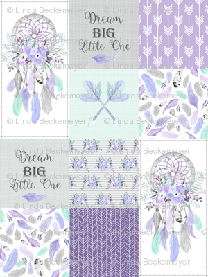 Dream Big Dream Catchers Patchwork Quilt Top – Wholecloth for Girls Purple Lavender Grey Feathers Nursery Blanket Baby Bedding