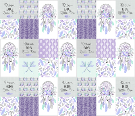 Dream Big Dream Catchers Patchwork Quilt Top – Wholecloth for Girls Purple Lavender Grey Feathers Nursery Blanket Baby Bedding fabric by gingerlous on Spoonflower - custom fabric