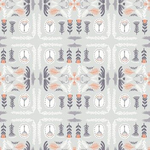 Soft Pastel Grey Orange Floral Quilt