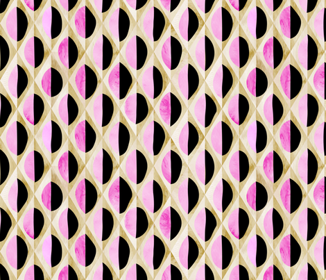 Circles Deconstructed in pink & black fabric by goatfeatherfarm on Spoonflower - custom fabric