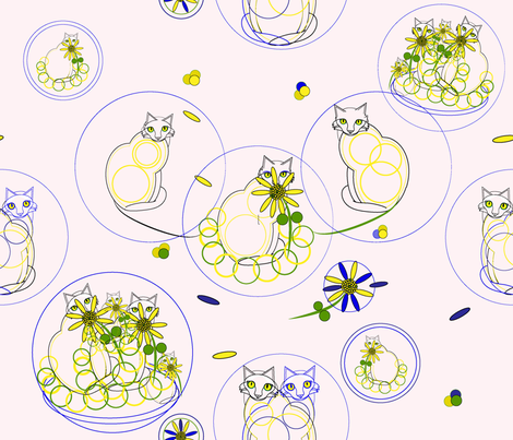 Daisies_ Cats_ Probably Mischief-01 fabric by alohajean on Spoonflower - custom fabric