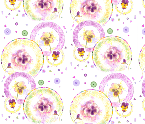 Large Size Pansies Go Round in Circles fabric by nancy_lee_moran_designs on Spoonflower - custom fabric