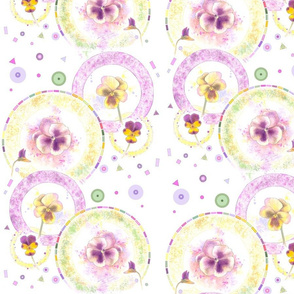 Large Size Pansies Go Round in Circles