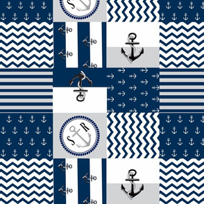 Anchor Center Quilt 14 wholecloth -gray  white blue PERSONALIZED- SR