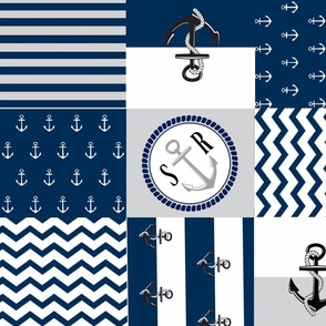 Anchor Center Quilt 21 wholecloth -gray  white blue PERSONALIZED- SR